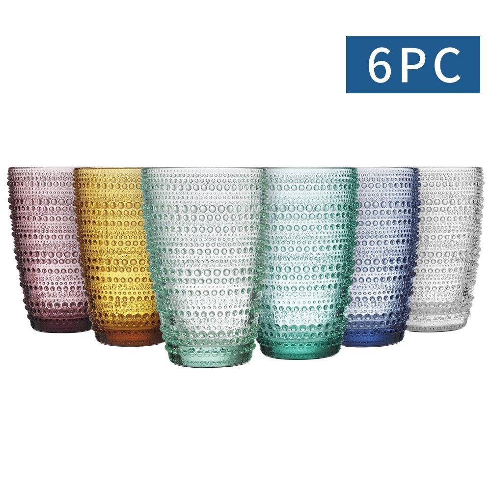 MESHA Beaded Highball Colored Water Glasses 12.3 oz Dewdrop Heavy Base Glasses Set, 360 ml Drinking Glasses, Set of 6