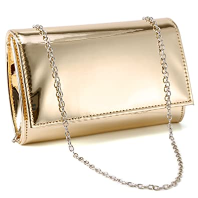 7cfa2de142 Anladia Small Metallic Patent Women Clutch Designer Ladies Wedding Prom  Evening Bags (Gold)