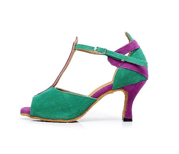 JSHOE Frauen Sexy T-Strap Latin Salsa Jazz Tanzschuhe Ballsaal Latin Tango  Party Tanzschuhe High Heels,Green-heeled10cm-UK2.5/EU32/Our33: Amazon.de:  Schuhe ...