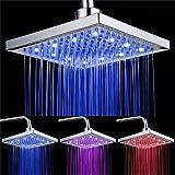 DELIPOP LED Soffione doccia 8 pollici controllo della temperatura 3 colore cambiando flusso d'acqua alimentato ABS cromato finito 12pcs LED per bagno