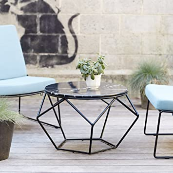 Outdoor Couchtisch Aus Marmor Und Metall Rund Garten Geometrisch