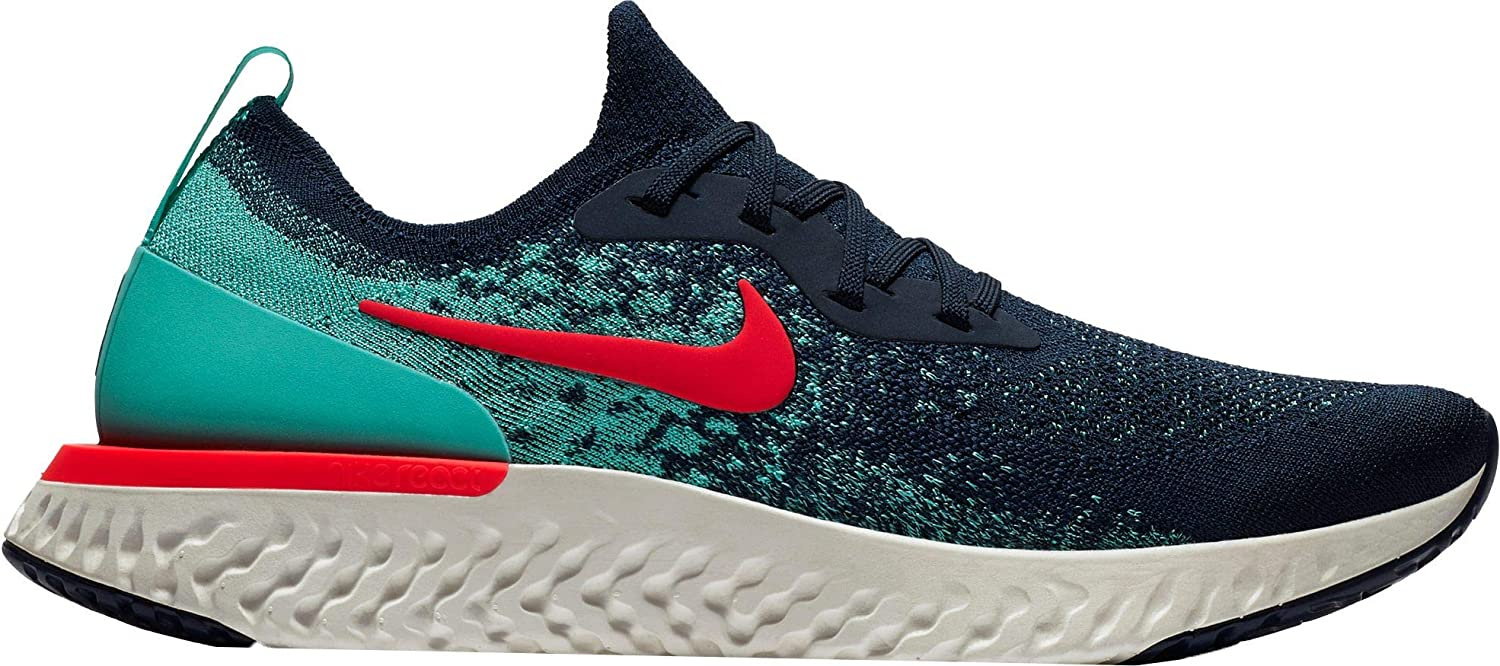 Nike Men s Epic React Flyknit Running Shoes 10 M US, College Navy Hyper Jade Sail Red Orbit