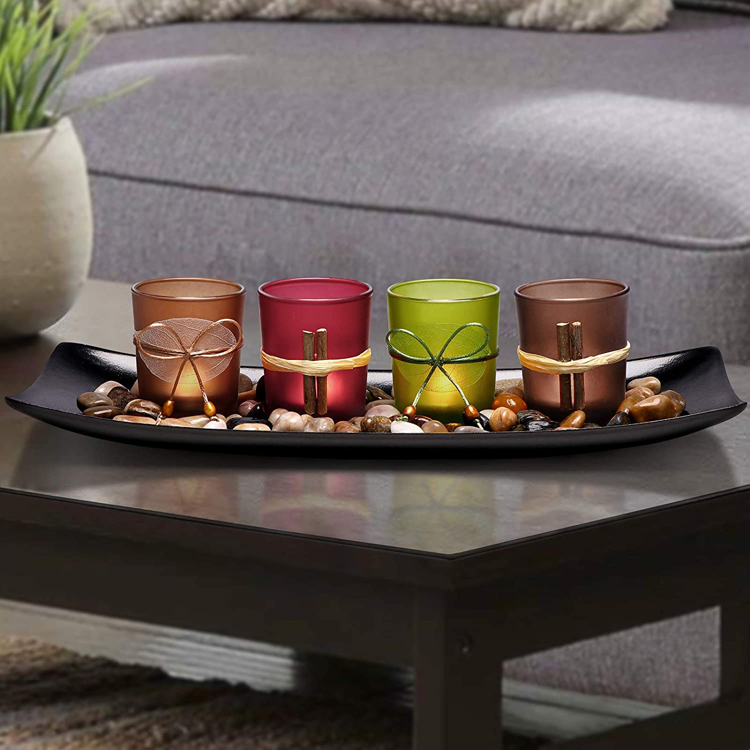 Lamorgift Home Decor Candle Holders Set For Bathroom Decorations Candle Holder Centerpieces For Dining Room Table Living Room Decor Coffee Table Decor Large Tray With 4 Candle Holders Kitchen