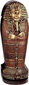 Design Toscano King Tutankhamen's Egyptian Mummy Sarcophagus Coffin DVD Storage Cabinet, 27 Inch, Gold Leaf