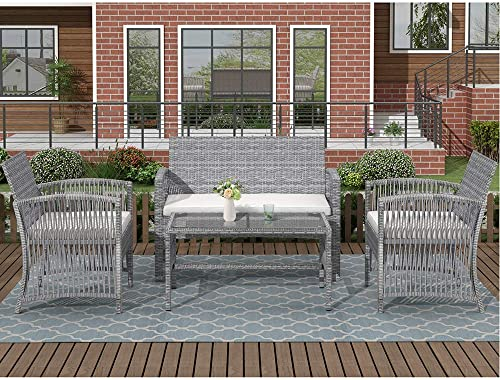 UFI Outdoor Patio Furniture Sets 4 Pieces Rattan Chair Wicker Furniture Conversation Sofa Set, Outdoor Indoor Backyard Porch Garden Poolside Balcony Use Furniture Brown Back Cushions