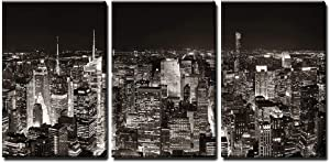 wall26 - 3 Piece Canvas Wall Art - New York City Midtown Skyline Panorama with Skyscrapers and Urban Cityscape at Night. - Modern Home Art Stretched and Framed Ready to Hang - 24