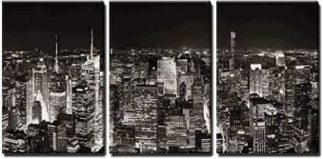 Amazon Com Wall26 3 Piece Canvas Wall Art New York City Midtown Skyline Panorama With Skyscrapers And Urban Cityscape At Night Modern Home Art Stretched And Framed Ready To Hang