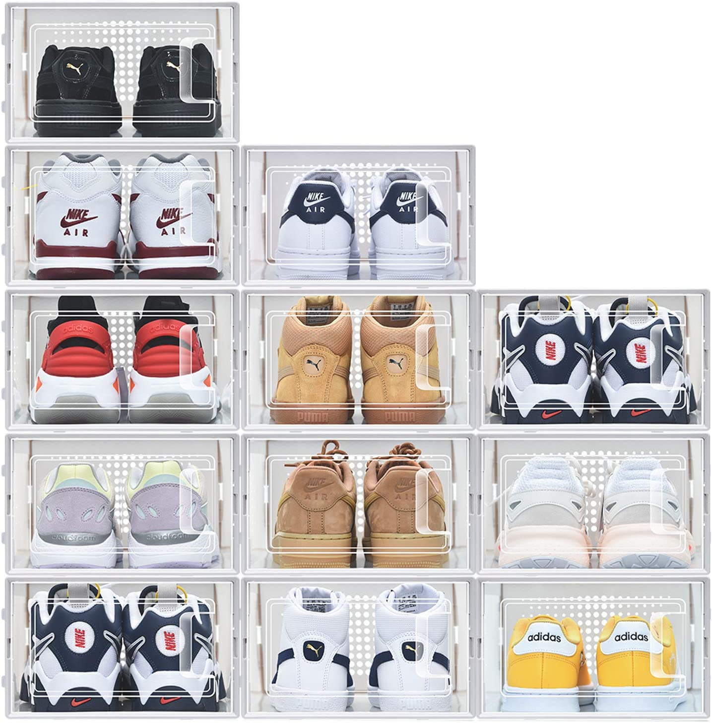 12 Pack Shoe Storage Boxes, Clear Plastic Stackable Shoe Organizer Bins, Drawer Type Front Opening Shoe Holder
