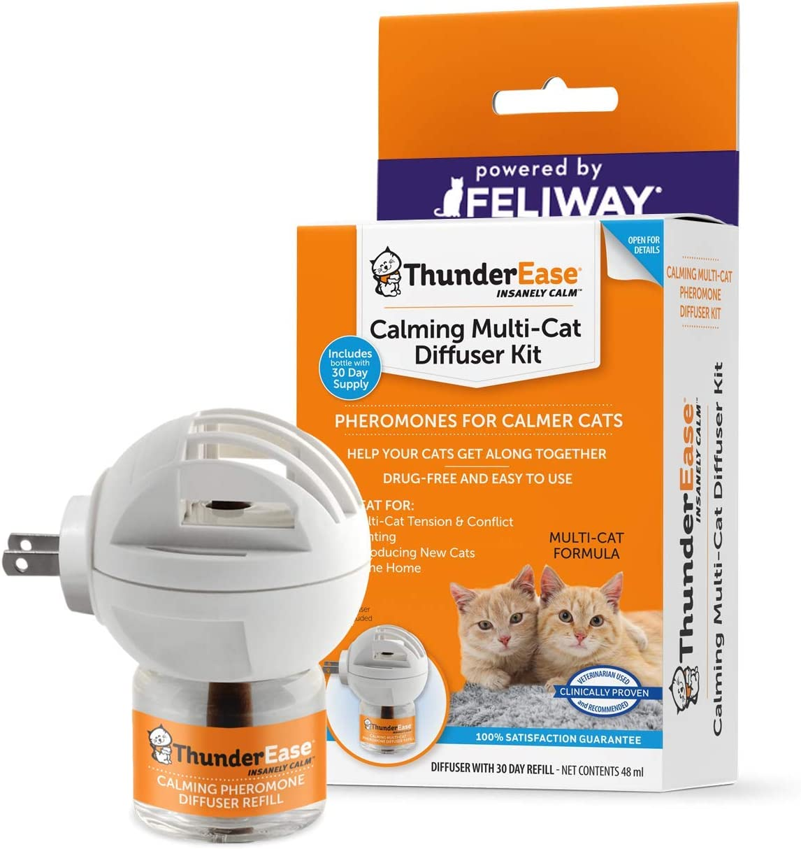 ThunderEase Multicat Calming Pheromone Diffuser Kit | Powered by FELIWAY | Reduce Cat Conflict, Tension and Fighting