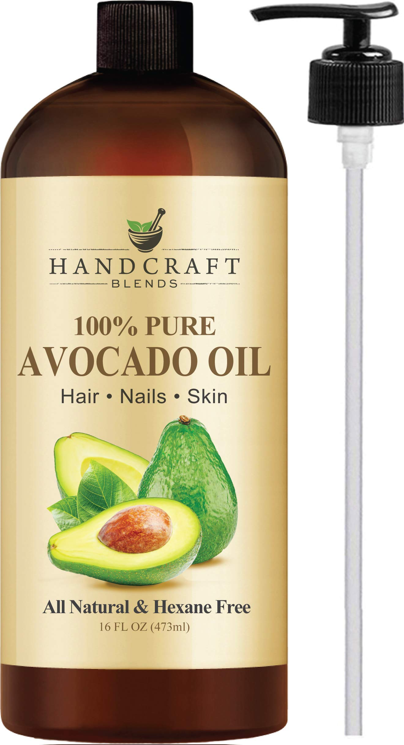 Handcraft Pure Avocado Oil - 100 Percent All Natural - Premium Quality Cold Pressed Carrier Oil for Aromatherapy, Massage and Moisturizing Skin - Hexane Free - 16 oz by Handcraft Blends