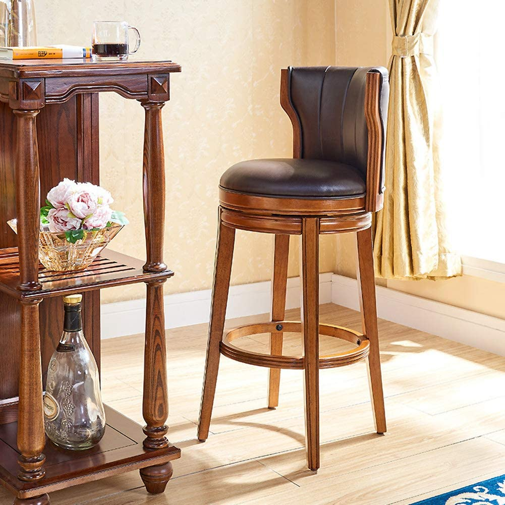 XM&LZ Swivel Counter Stools, Solid Wood Barstool Chair with Back Upholstered Bar Stools Breakfast Stools Retro American Style High Chair-h:61cm(24'')