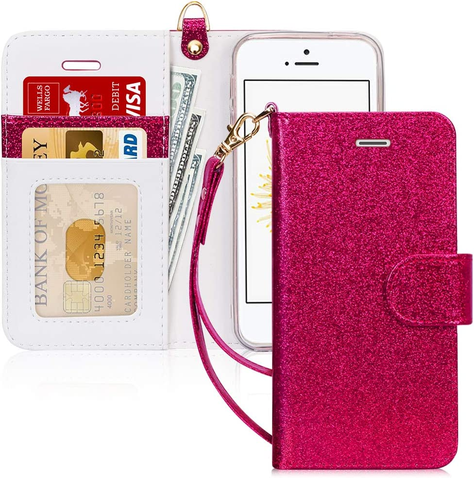 FYY Case for iPhone SE/iPhone 5S/iPhone 5, [Kickstand Feature] Luxury PU Leather Wallet Case Flip Folio Cover with [Card Slots][Wrist Strap] for iPhone SE (1st gen - 2016)/5S/5-DeepRed