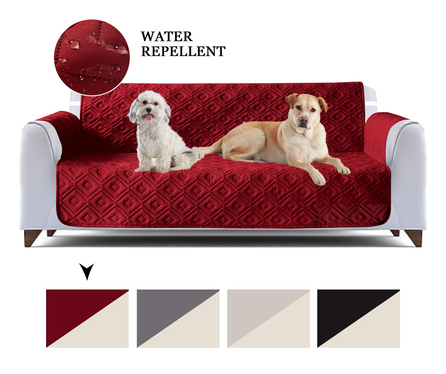 AMEHA Quilted Waterproof Sofa Slip Cover, Anti Slip Furniture Protector  Sofa Throw Pet Protectors, Sofa Covers for Dog (Burgundy, 8 Seater)