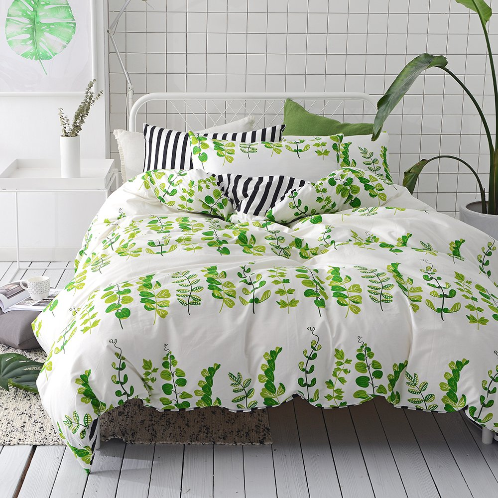 VClife Green Leaf Printed Duvet Cover Sets, 100% Cotton White Black Striped Reversible Floral