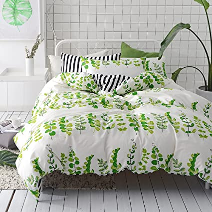 VClife Leaves Bedding Sets Queen Duvet Cover Sets Stripe Duvet Cover With 2  Pillowcases Hotel Quality