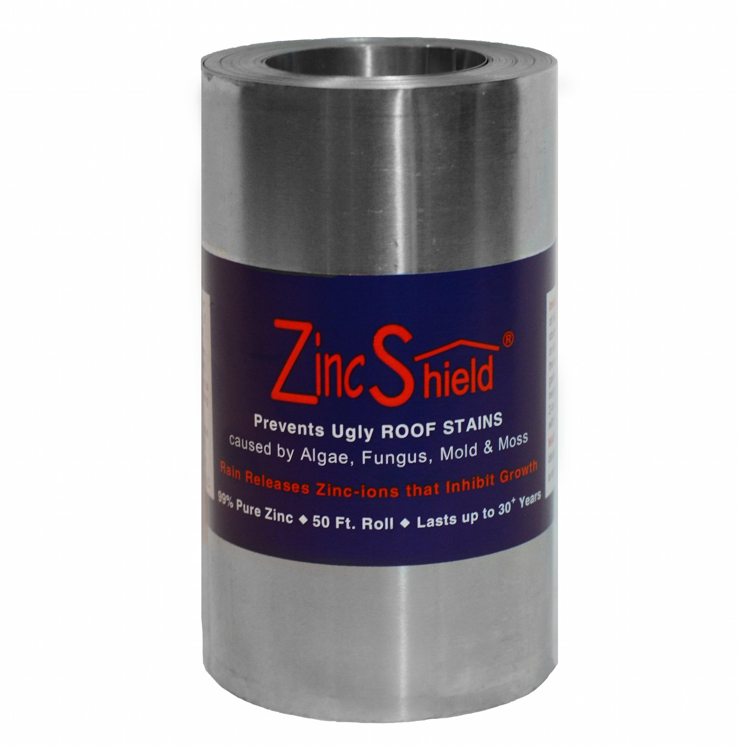 Set of 2 - ZincShield Pure Zinc Strips and Nails Installation Kit to Avoid Ugly Roof Stains from Moss, Algae, Fungus, and Mildew (6'' Roll + Nails (2 Sets)) Made in the USA by ZincShield (Image #1)