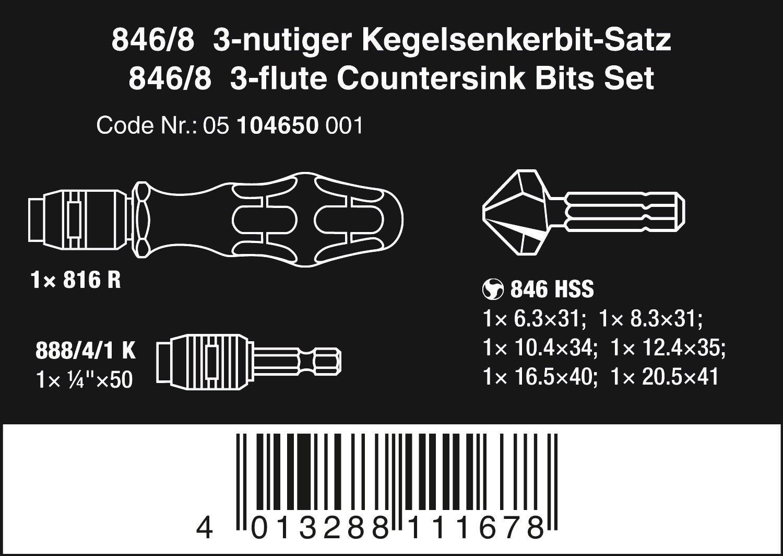 Wera 846 3-nutige Kegelsenker-Bits Größe M 6
