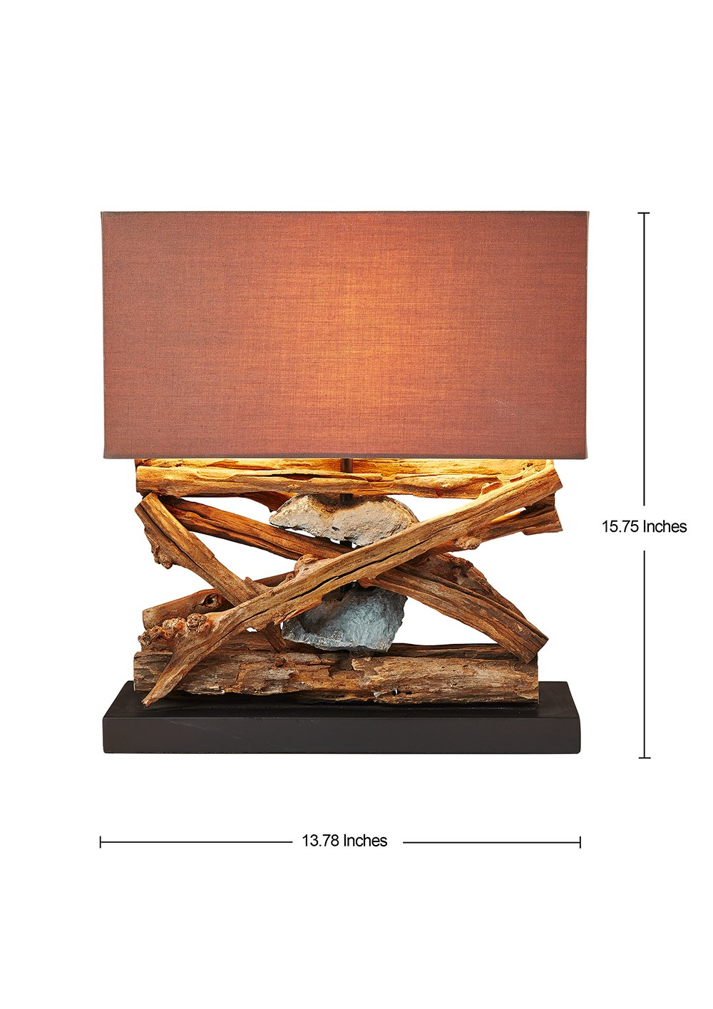 O'THENTIQUE Rustic Wood & Stone Table Lamp - Natural Reclaimed Driftwood Coastal Nautical Tropical Design - Perfect for Beach House Cabin Cottage Bedroom Living Room Office Entryway