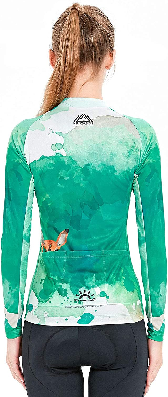 Mysenlan Womens Cycling Long Sleeve Breathable Jersey Set 3D Padded Long Pants Bike Shirt Bicycle Tights Clothing Green
