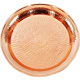 Premium Quality Contemporary Hammered Edge Pure Copper Circular Serving Party Tray 13 Inch Round Charger Platter