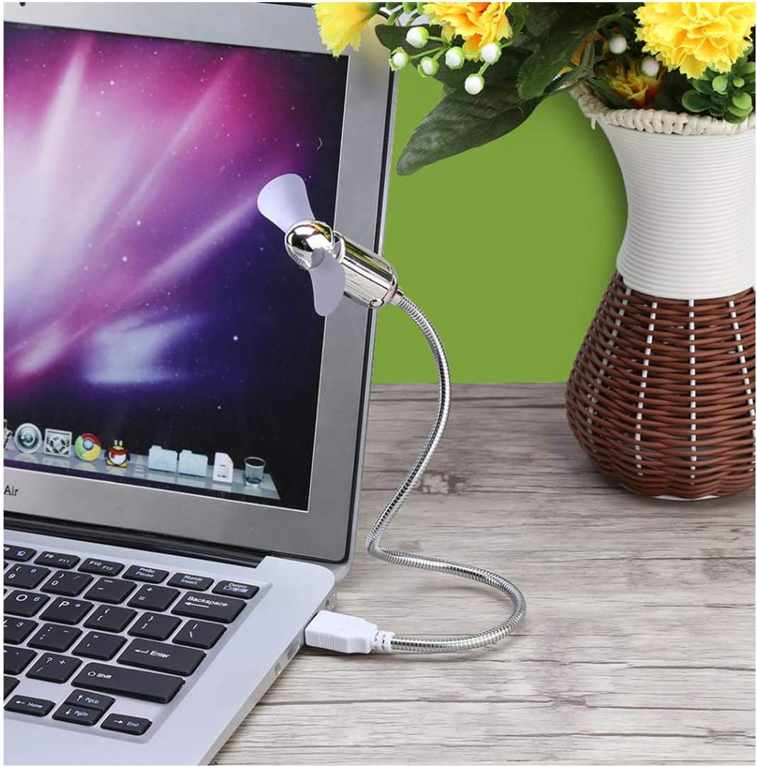 Mini USB Fan Strong Wind for Laptop Computer Cooling Flexible USB Fan Plug and Play Metal Hose Portable USB Fan