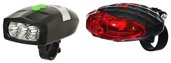 Dark Horse Bicycle 3 LED 3 Mode Front Light  amp; Horn  amp; Diamond Cut 2 Laser Beams Tail Light Combo Lights   Reflectors