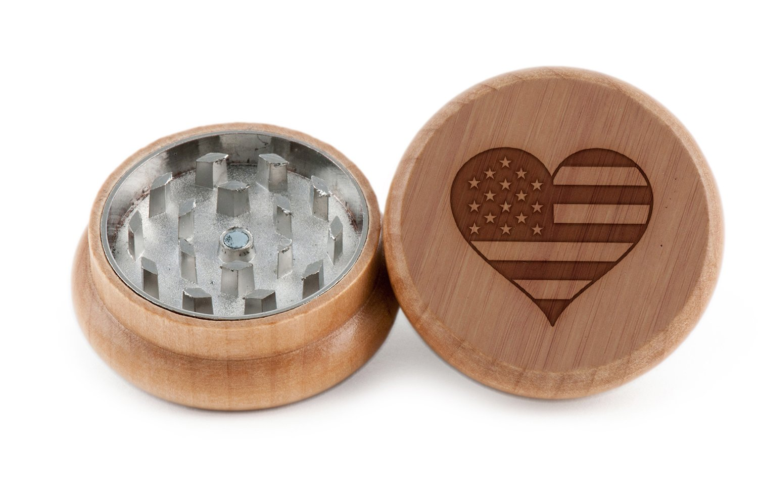GRINDCANDY Spice And Herb Grinder - Laser Etched America Design - Manual Oak Pepper Grinder