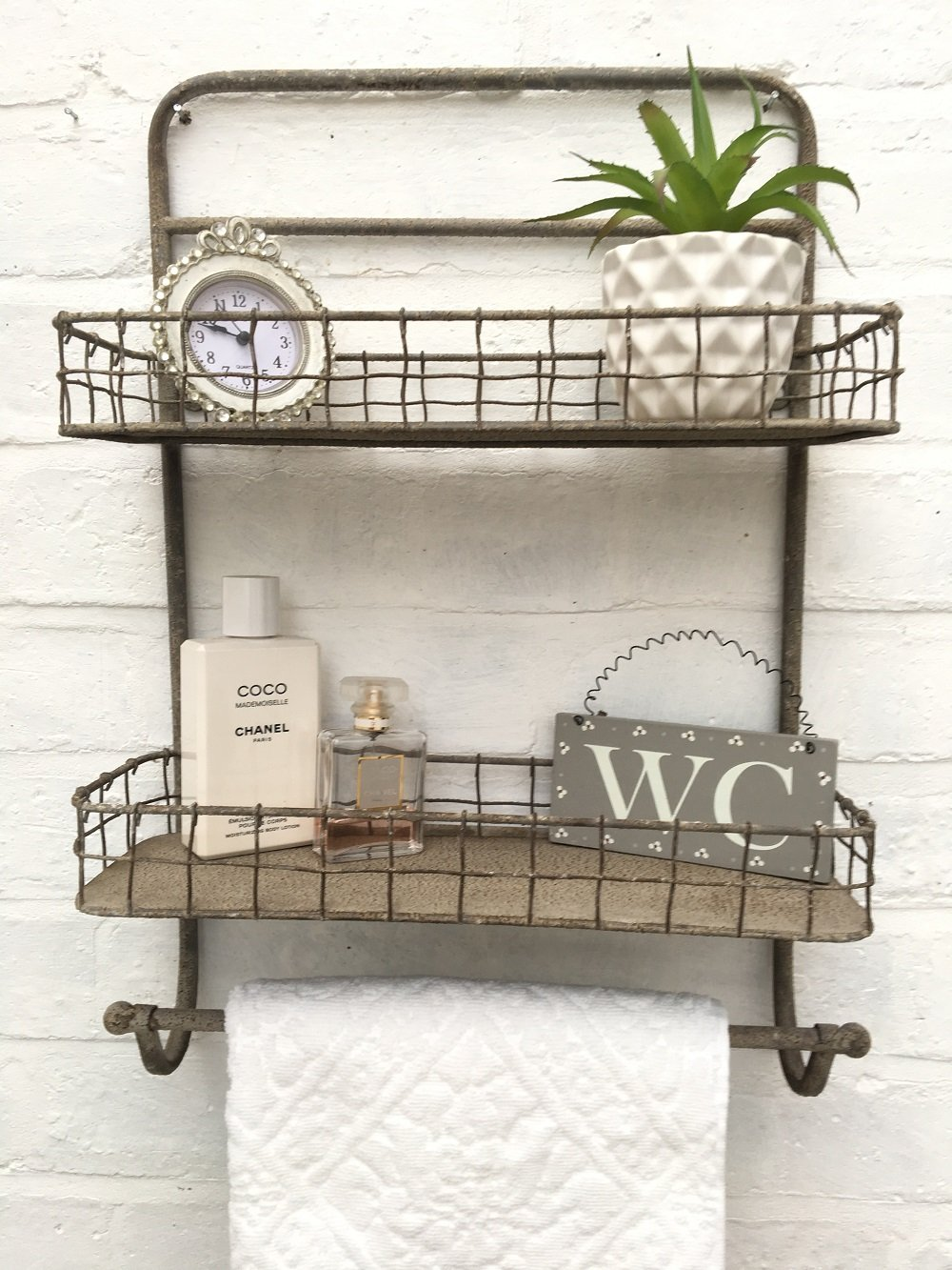 Vintage Style Metal Wall Shelf Unit Rack Towel Rail Kitchen Bathroom Industrial Storage Home Storage