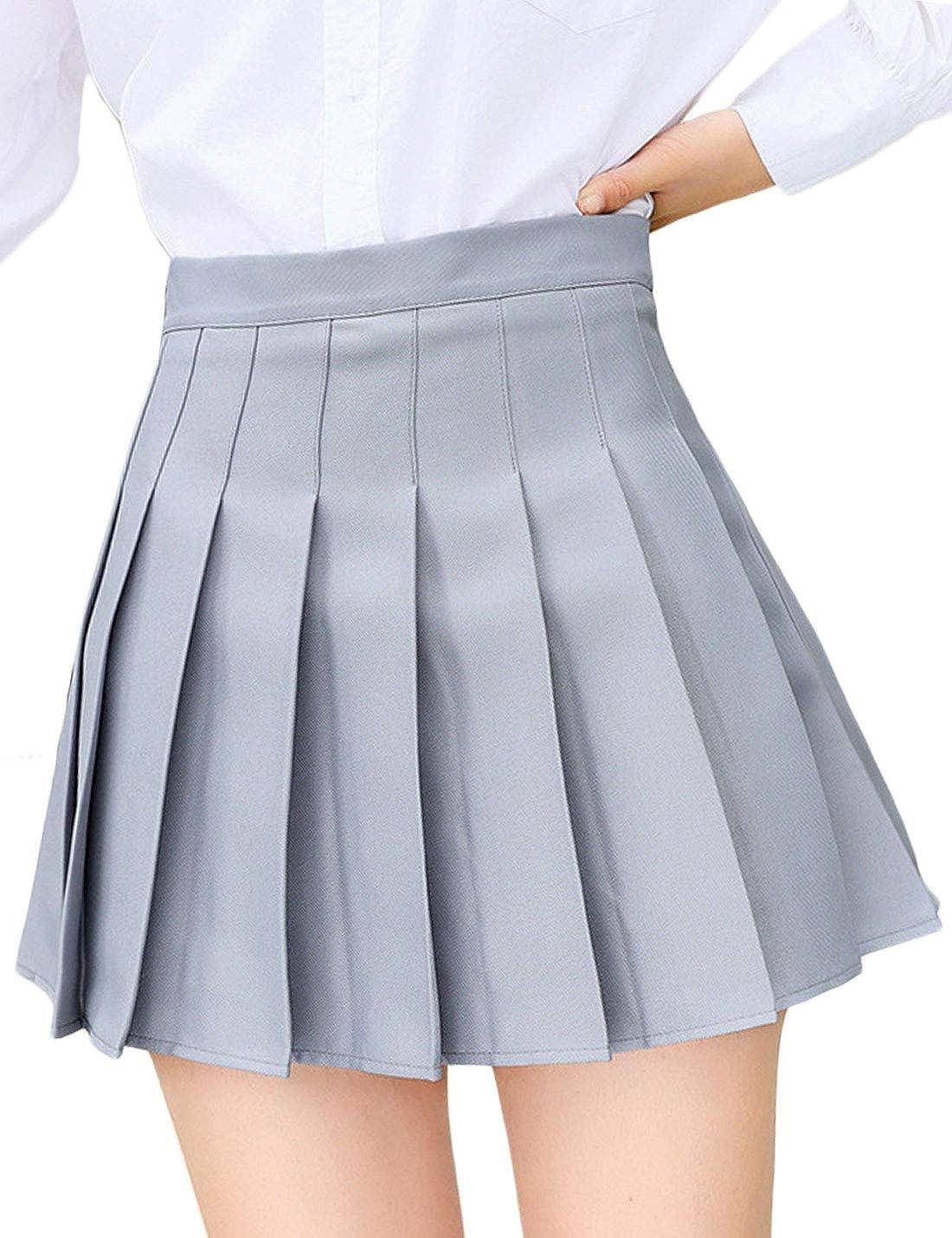 Jenkoon Womens Girls Pleated Dennis Skirt High Waist A-Line School Uniform  Skater Skirts at Amazon Women's Clothing store