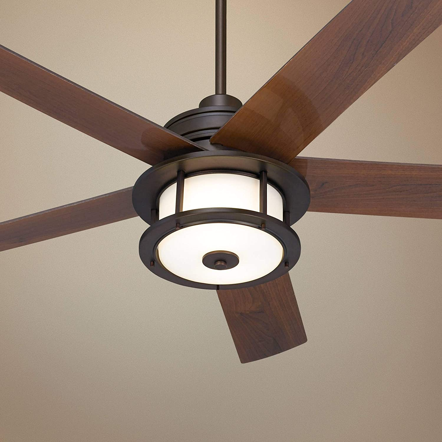 60 Casa Largo Modern Outdoor Ceiling Fan with Light LED Oil Brushed Bronze Dark Walnut Blades Frosted White Glass Damp Rated for Patio Porch – Casa Vieja