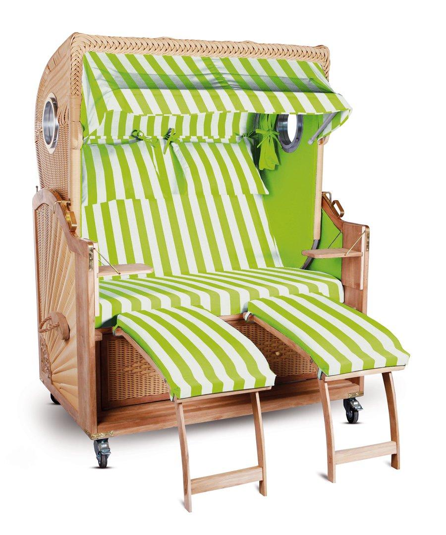 Strandkorb Kampen Spezial 2-Sitzer Herllgrün Weiß gestreift Seiten Hellgrün mit Bullauge