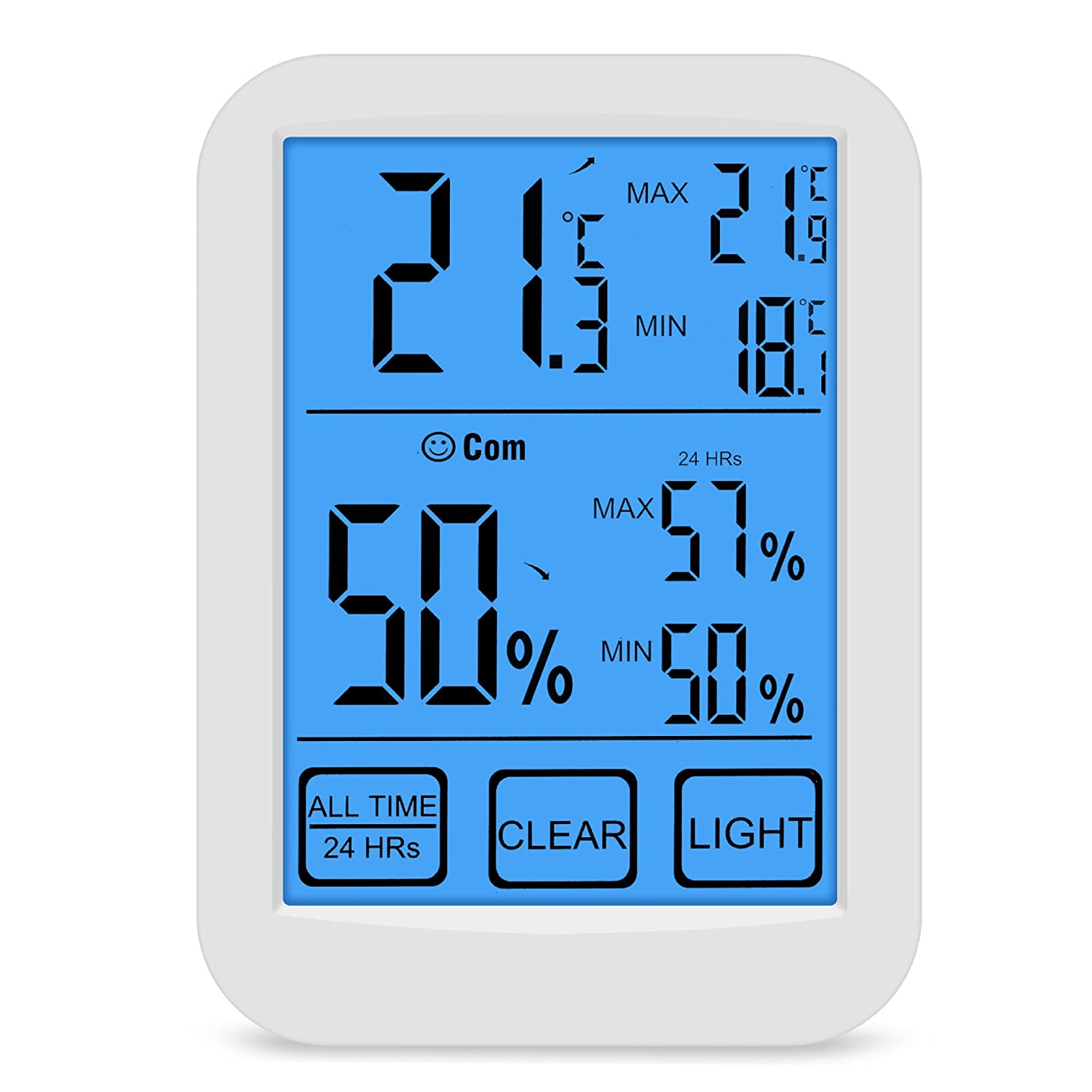 Sanp Indoor Outdoor Digital Hygrometer Thermometer, Humidity Monitor Wireless with LCD Display, Touchscreen and Nightlight Temperature Humidity Monitor for Home, Office, Bedroom,Baby Room, Warehouse