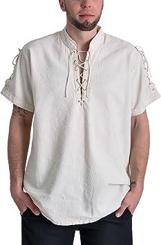 Camisa de pirata medieval camiseta de manga corta cuello alto ...