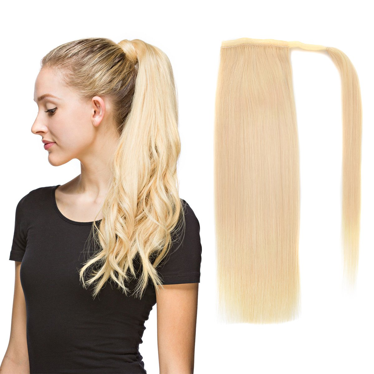 22'' Human Hair Ponytail Wrap Around Clip in Ponytail Hair Extensions for Women Bleach Blonde(#613) 100g/3.5oz by BHF