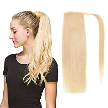 22quot Human Hair Ponytail Wrap Around Clip In Extensions For Women Bleach Blonde
