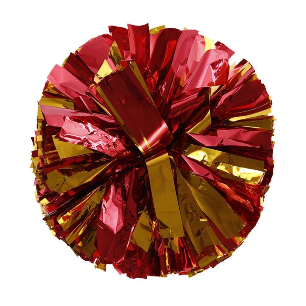 Jaminy Metallic Folie und Kunststoff Ring Handheld Pom Poms Cheerleading Party Dekor