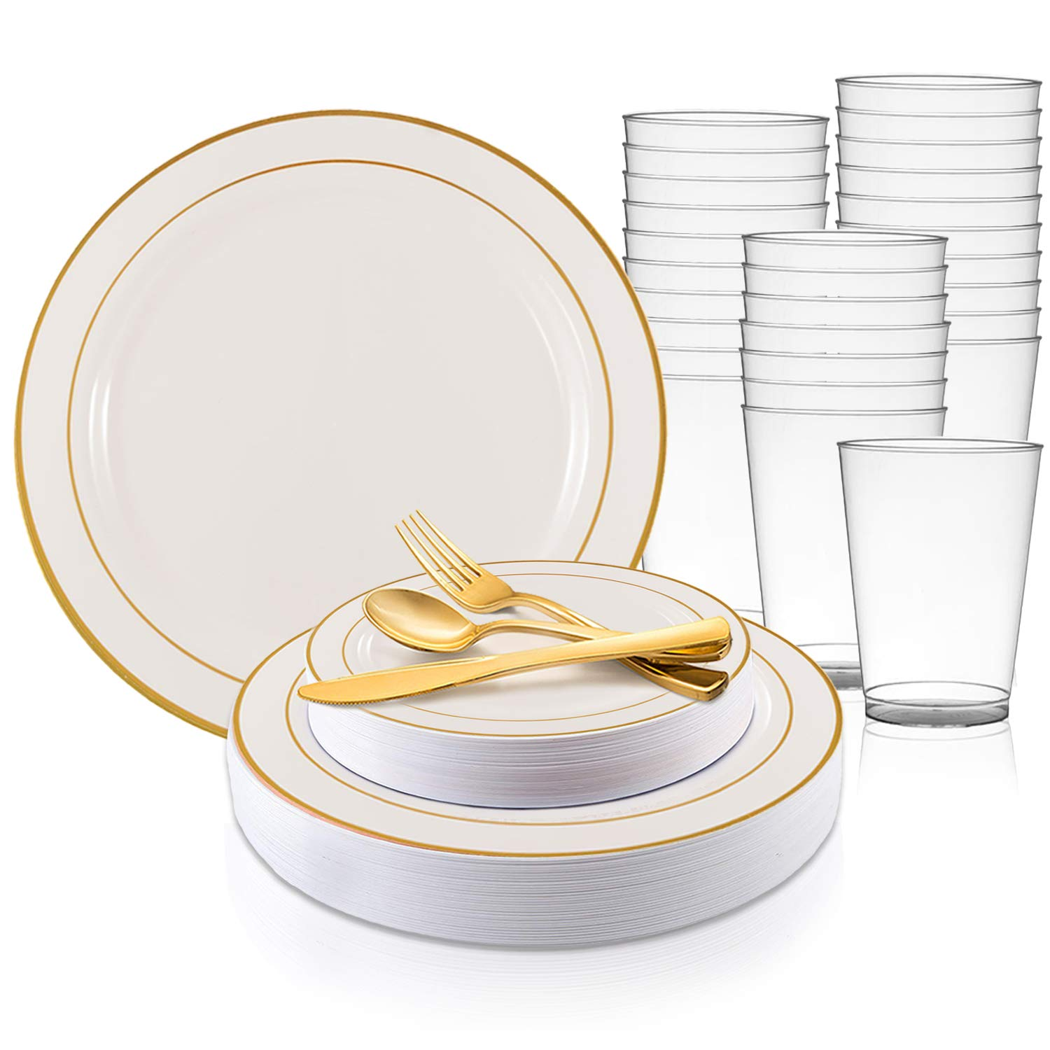 Disposable Plastic Dinnerware Set for 120 Guests - Includes Fancy White Dinner Plates w/Gold Rim, Dessert/Salad Plates, Silverware Set/Cutlery & Cups For Wedding, Birthday Party & Other Occasions