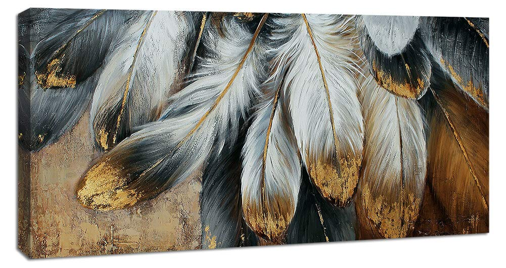 Yiijeah Painting Wall Art Canvas Picture Feather Decoration for Living Room Large Modern Hand Painted Artwork Decor Hang in Bedroom Office Home