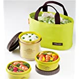 Lock & Lock Classic Lunch Box 3 Pieces With Lunch Bag Green, Green