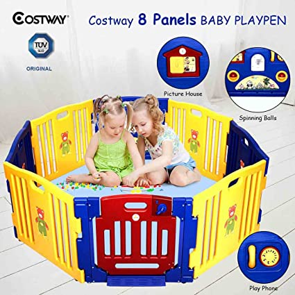 22db675e5 COSTWAY Baby Playpen with 8 Colorful Panels
