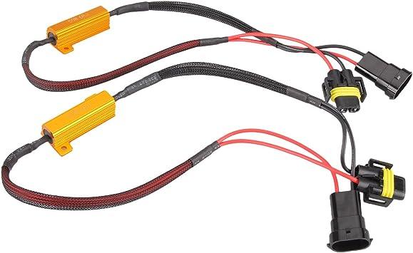 2x H11 Led Drl Fog Light 50w Load Resistor Error Free Decoder Cancel Fog Lights Amazon Canada