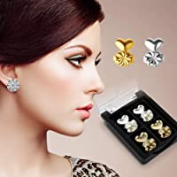 Carecroft Earring lifter lobe lifts back Metal Ear ring patches support hypoallergenic adjustable (2 Pairs - Gold & Silver plated)