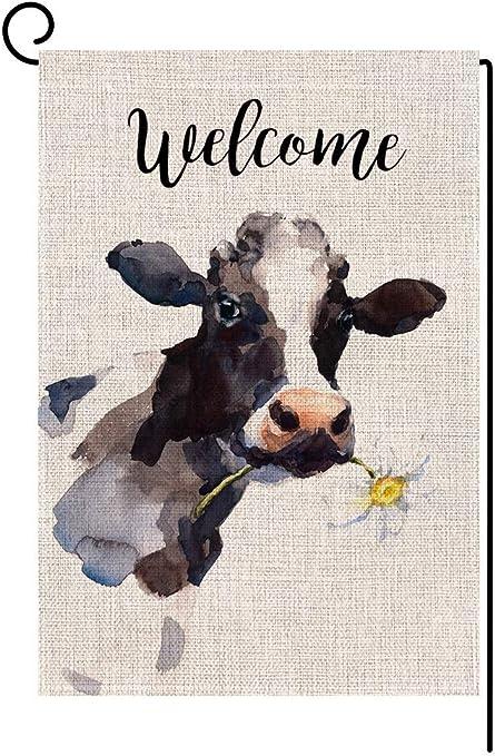 Amazon.com: Bandera de la casa de la vaca de la bienvenida ...