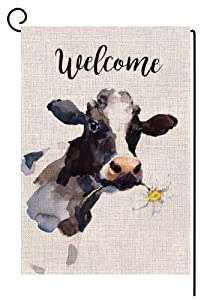 BLKWHT Welcome Vintage Cow with Flower Garden Flag Vertical Double Sided 12.5 x 18 Inch Farmhouse Yard Outdoor Decor