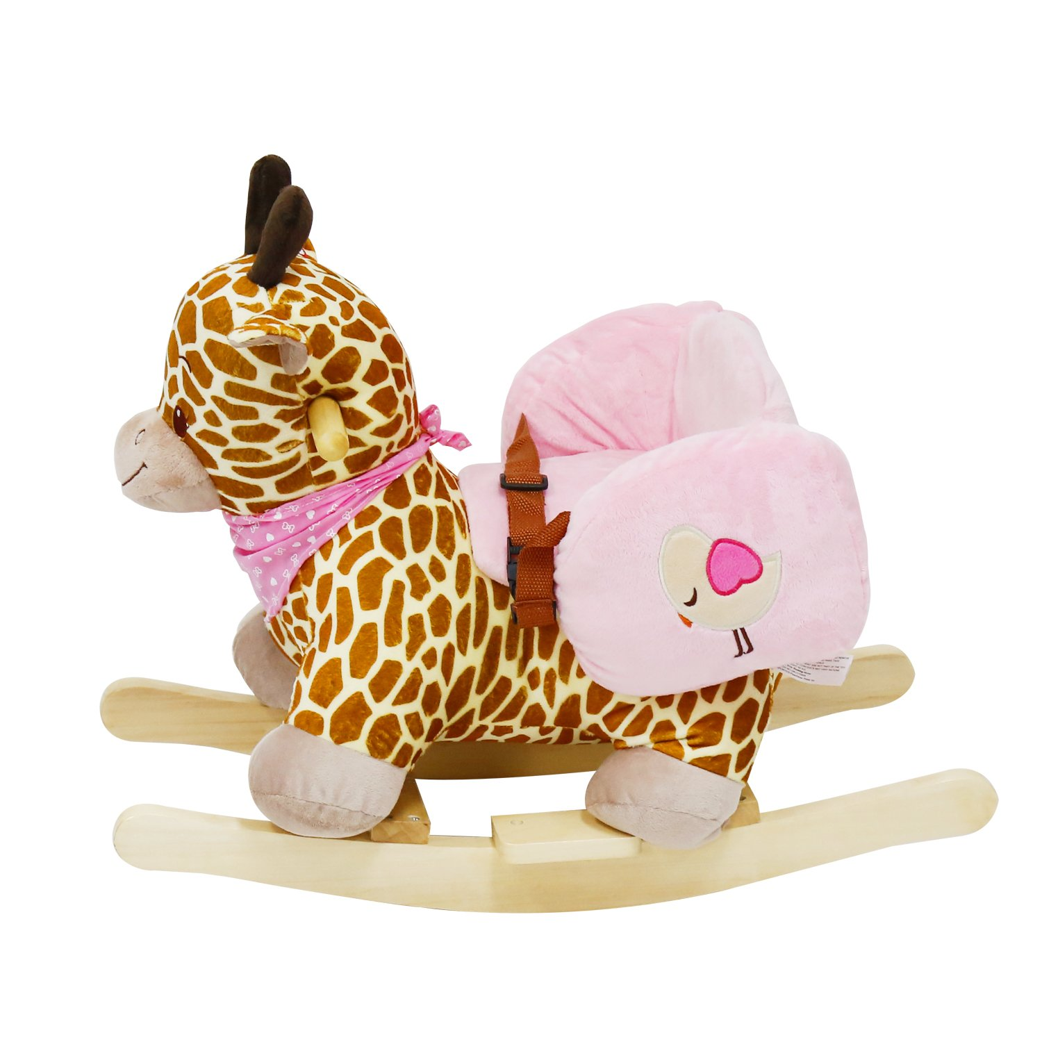 Birthday Gift Kinbor Brown Wooden Rocking Horse Plush Toys Rocker with Sound for Kids Ages 2-3 Years