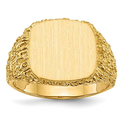 2349f4f7a12e Roy Rosas joyería 14 K oro amarillo parte trasera abierta para hombre  corteza trozos de lados cuadrado ...