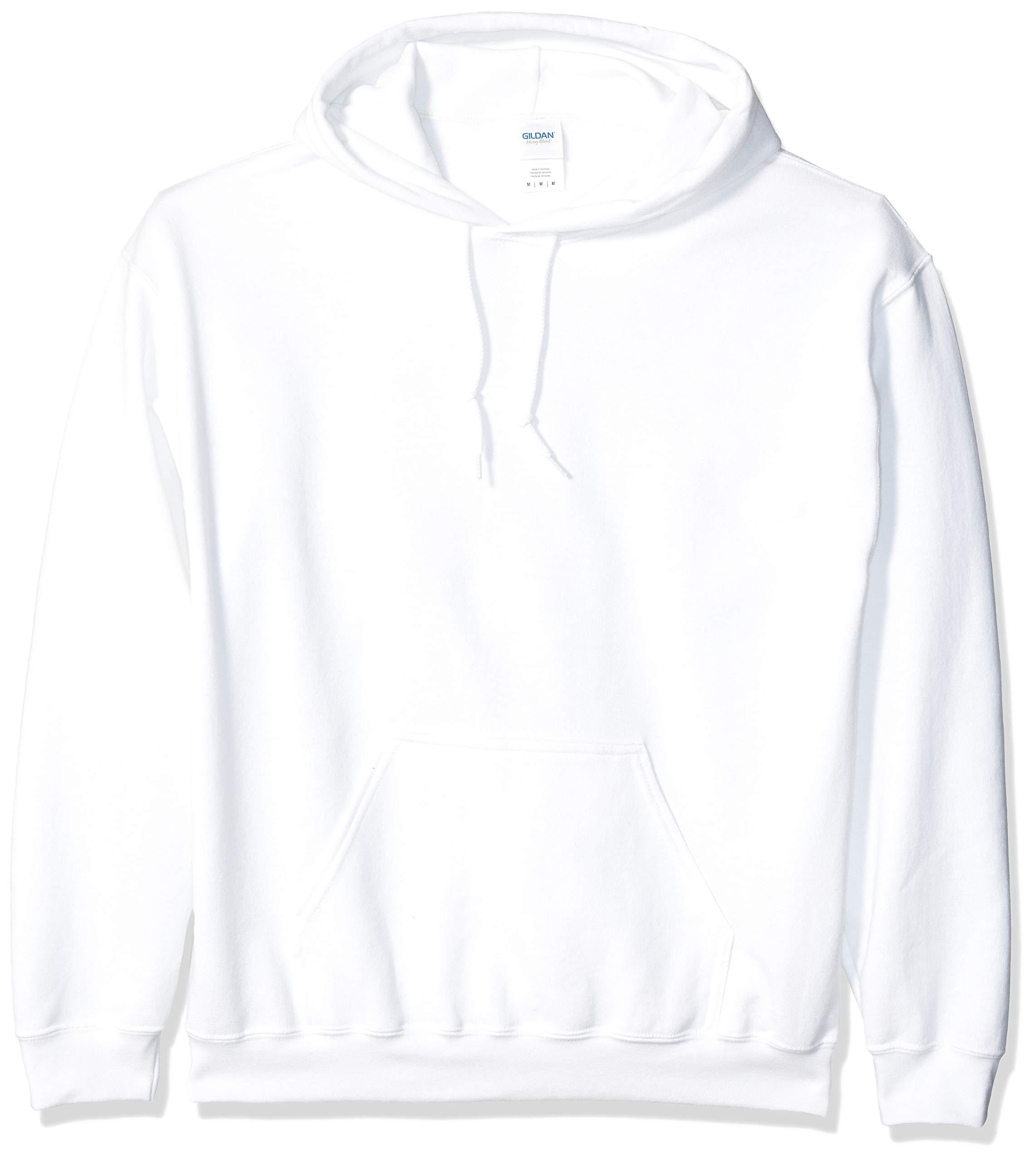 Gildan Men's Heavy Blend Fleece Hooded Sweatshirt G18500, White, Small