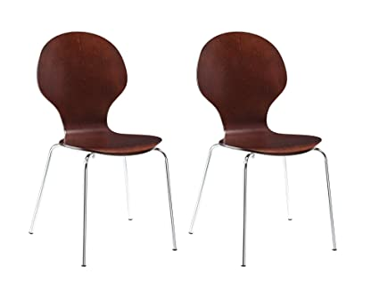 Delicieux Novogratz Shell Bentwood Chair With Silver Chrome Rounded Legs, Set Of 2,  Espresso