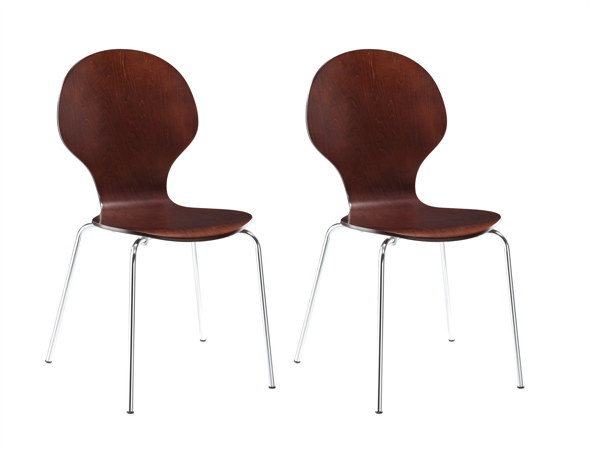 Novogratz Shell Bentwood Chair with Silver Chrome Rounded Legs, Set of 2, Espresso