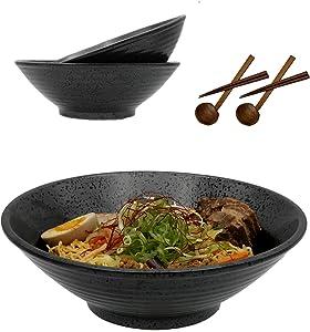 Ceramic Japanese Ramen Bowls with Spoons and Chopsticks - 2 large bowl set (60oz, 10 inch), noodle soup bowls, serving bowls, for ramen, udon, pho, salad, soup, pasta, pho, udon